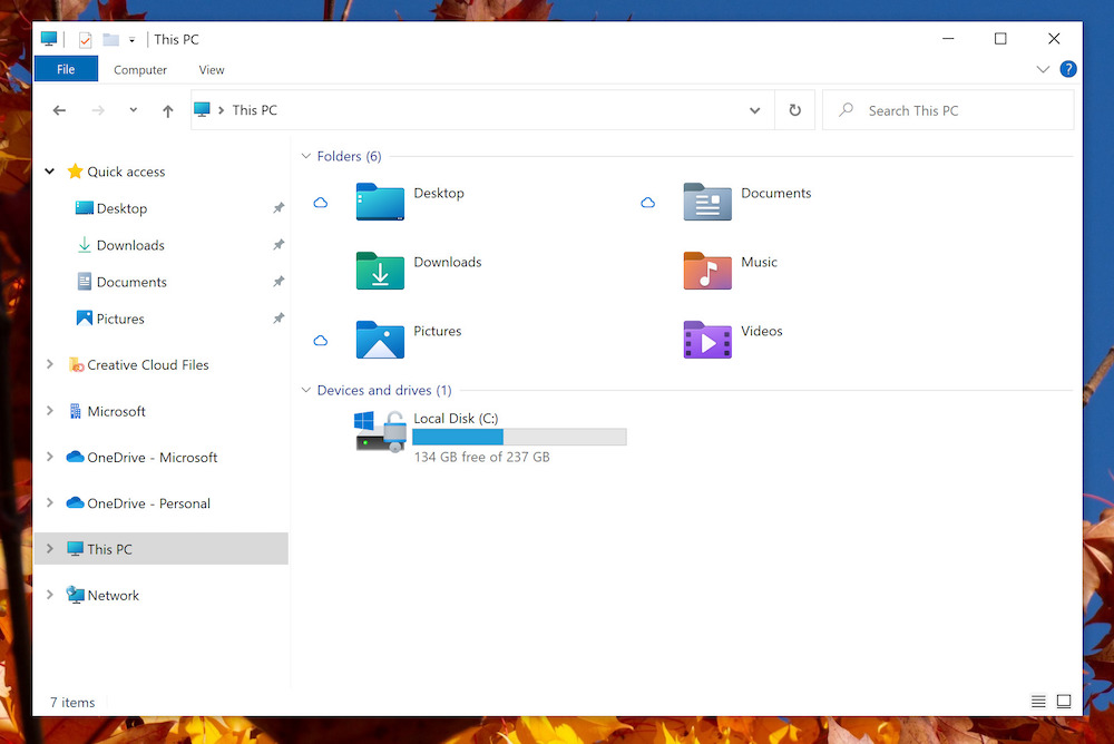Microsoft Windows file explorer icons