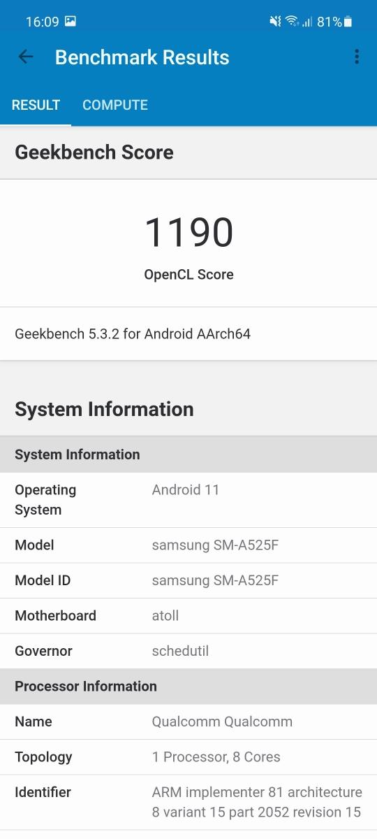 Samsung Galaxy A52 - Benchmarks