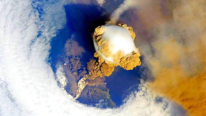 view of the volcano from space