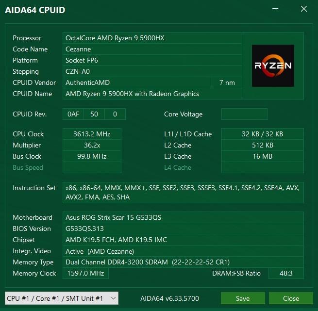 ASUS ROG Strix SCAR 15 G533 - CPU