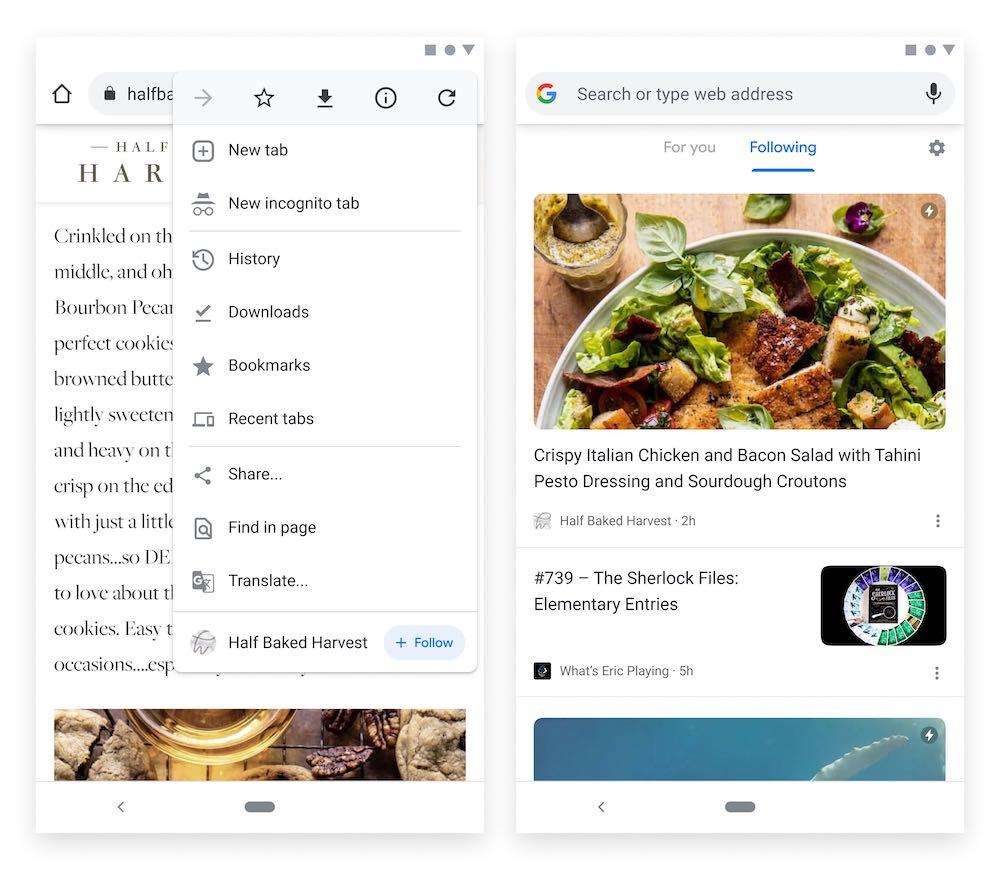 Google Chrome Follow RSS