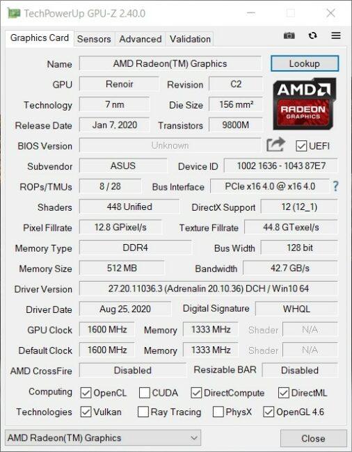 ASUS Mini PC PN50 - GPU