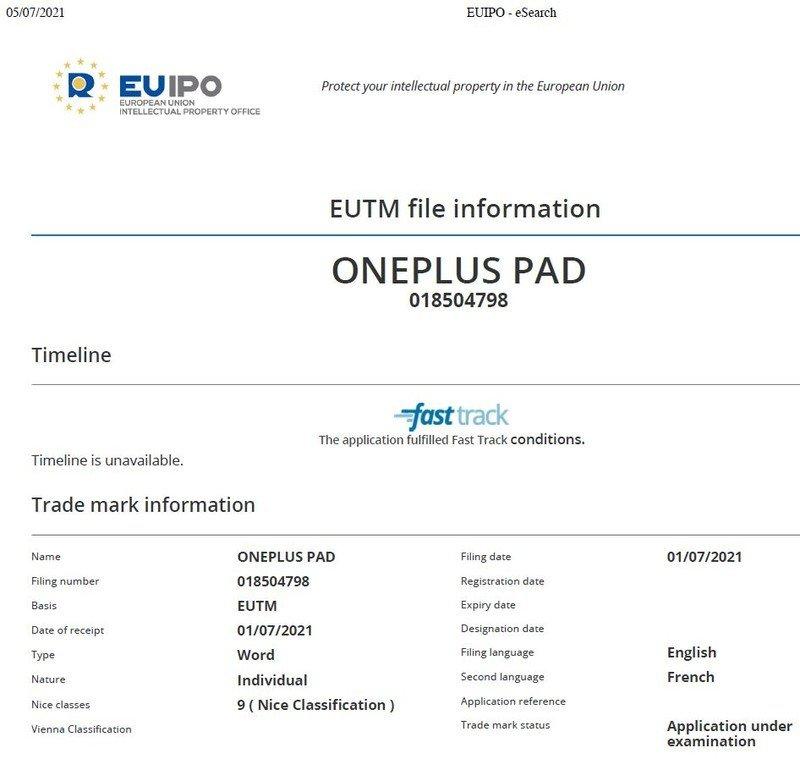 OnePlus Pad EUIPO