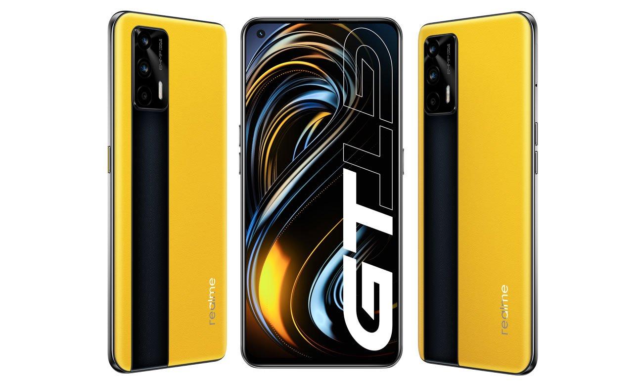 realme GT, który również może pochwalić się skórzanym tylnym panelem w żółtej wersji.