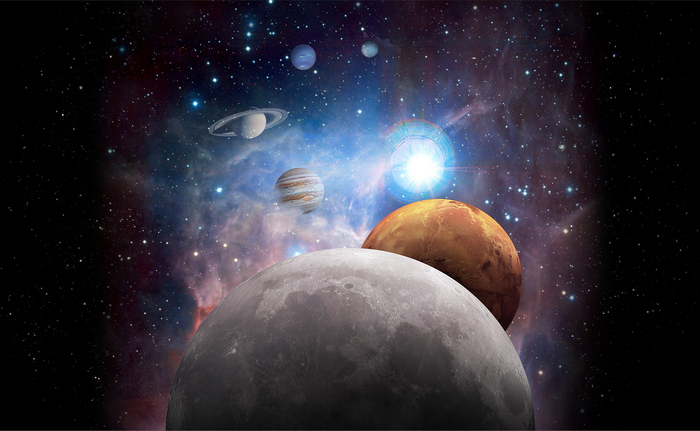 light reflections from planets and moons