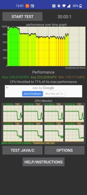OnePlus Nord 2 5G - CPU Throttling Test
