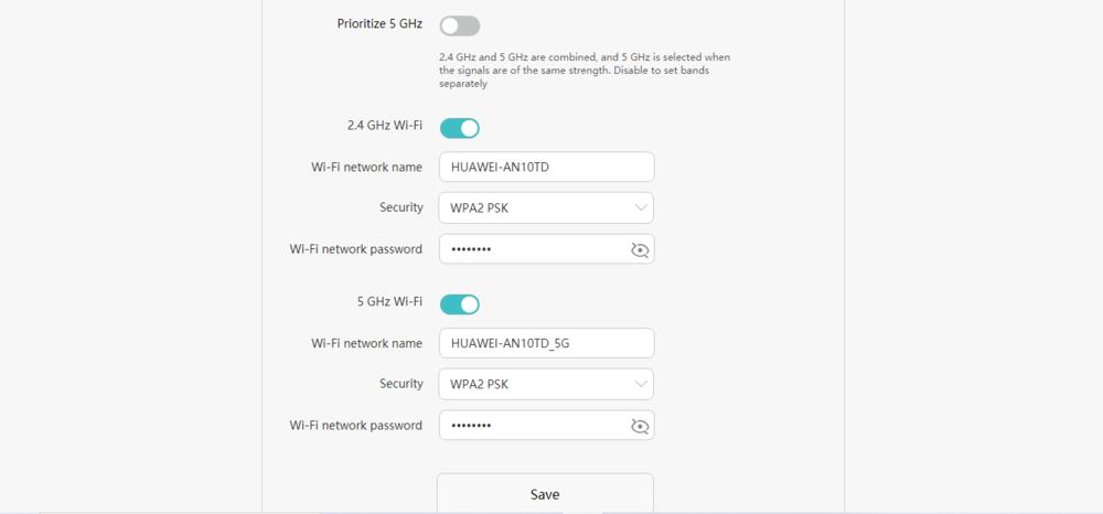 Huawei WiFi WS5200 v3 інтерфейс